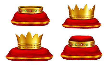 Royal golden crowns inlaid with precious gemstones lying on red ceremonial pillow realistic vector icons set isolated on white background. Monarch power symbol. Highest award for competition winner