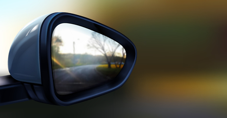 Vector realistic illustration of black rear view mirror with reflection in it, isolated on blurred background. Accessory for vehicles to look back on road for good visibility and drive car safely