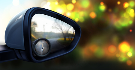Vector illustration of rear view mirror with small round glass for blind spot zone, isolated on abstract blurred background. Plastic accessory for vehicles to look back on road and drive car safely