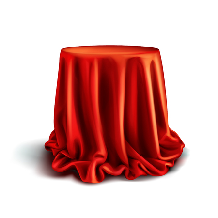 Vector realistic box covered with red silk cloth isolated on white background. Empty stand or table with tablecloth to show magic tricks. Secret gift, hidden under satin fabric with drapery and folds