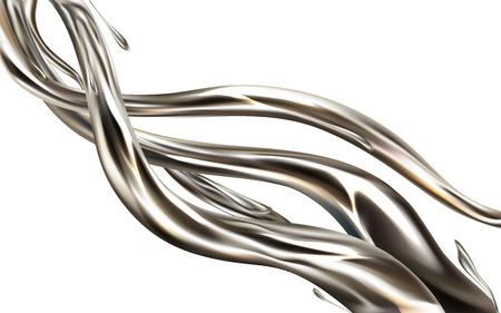 Realistisches 3D-Vektorgestaltungselement des flüssigen Metallstrahls lokalisiert auf weißem Hintergrund. Glänzender silberner Flüssigkeitsfluss, Quecksilberstrudelillustration. Geschmolzenes Aluminium, Spritzer aus Edellegierung. Metallic-Farbspritzer Vektorgrafik