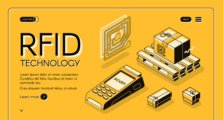 Technologie RFID pour le suivi de la livraison bannière web vectorielle isométrique. Étiquette de piste électromagnétique sur l'illustration de l'art de la ligne de fret et de lecteur RFID. Modèle de page de destination du service d'automatisation de la vente au détail ou des expéditions Vecteurs