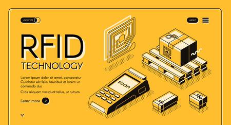 Tecnologia RFID per il monitoraggio della consegna banner web vettoriale isometrico. Etichetta di traccia elettromagnetica sul carico e illustrazione di arte di linea del lettore RFID. Modello di pagina di destinazione del servizio di automazione della vendita al dettaglio o delle spedizioni Vettoriali