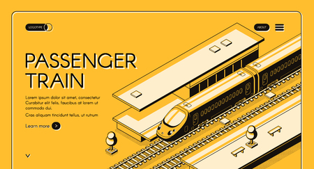 Passenger train isometric vector web banner. High-speed express train on railroad station, line art illustration. Tourism portal or travel agency site template. Railway transport company landing page Illustration