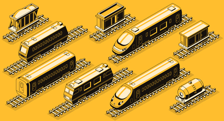 Railroad transport, train elements isometric vector set. High-speed passenger and freight locomotives, goods wagons and containers with bulk cargo, tank car on rails line art illustrations collection