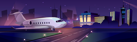 Private passenger plane or personal business jet on runway at night, airport terminal building on background cartoon vector illustration. Modern aerodrome with landing or ready to take off aircraft