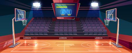 Terrain de basket avec plancher en bois, tableau de bord au plafond et sièges de secteur de ventilateur vides illustration vectorielle de dessin animé. Stade intérieur moderne éclairé par des projecteurs. Arène sportive ou salle pour jeux d'équipe