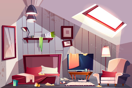 Brudna sypialnia na poddaszu lub pokój gościnny na poddaszu wnętrza z rozrzuconymi ubraniami, poplamionymi ścianami i pajęczyną w rogach ilustracja kreskówka wektor. Złe gospodarstwo domowe, sprzątanie w domu, koncepcja bałaganu dla gości