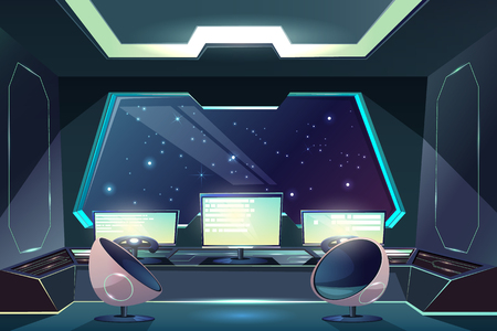 Future spaceship captains bridge, command post interior cartoon vector illustration with pilot steering wheel or helm in front of control screen, futuristic armchairs and starry space outside porthole