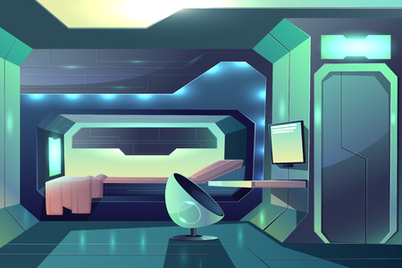 Future spaceship crew member personal cabin minimalistic interior with neon ambient light, bed in sleeping block and futuristic armchair in front of desk with monitor cartoon vector illustration Ilustração