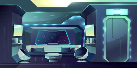 Future spaceship crew cabin futuristic interior cartoon vector illustration. Fiction live space station internal arrangement, apartment of hotel on Earth orbit, planet colonists comfortable dwelling Vektorové ilustrace