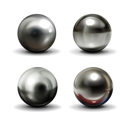 Conjunto de bolas de acero o plata con sombras desde abajo vector realista aislado sobre fondo blanco. Esferas metálicas brillantes con varios reflejos de luz en la colección de ilustraciones 3d de superficie cromada