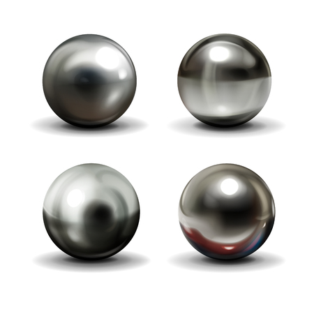 Set of steel or silver balls with shadows from below realistic vector isolated on white background. Shiny, metallic spheres with various light reflections on chrome surface 3d illustrations collection