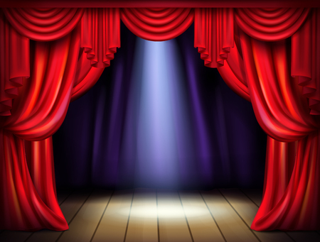Empty stage with opened red curtains and projector light beam on wooden floor realistic vector illustration. Live music concert, theatrical performance or premiere. New product presentation concept