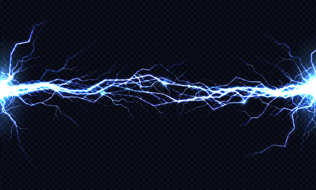 Powerful electrical discharge hitting from side to side realistic vector illustration isolated on black transparent background. Blazing lightning strike in darkness. Electric energy flash light effect