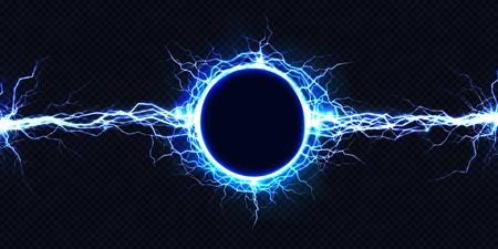 Potente scarica elettrica rotonda che colpisce da un lato all'altro illustrazione realistica di vettore isolata su fondo nero. Colpo di fulmine fulmineo nell'oscurità Effetto luce flash di energia elettrica