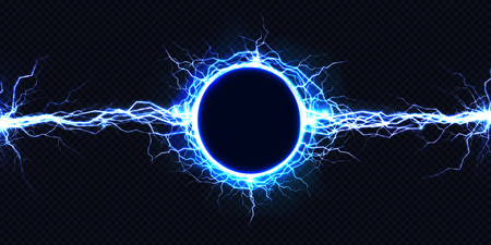Powerful electrical round discharge hitting from side to side realistic vector illustration isolated on black background. Blazing lightning circle strike in darkness Electric energy flash light effect Illustration