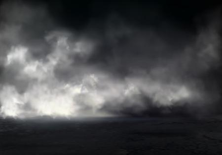 Poranna mgła lub mgła nad rzeką, dymem lub smogiem rozprzestrzeniającym się w ciemnej wodzie lub powierzchni ziemi realistyczne tło wektor. Zjawisko naturalne, tajemniczy element atmosfery, efekt wizualny projektu środowiska