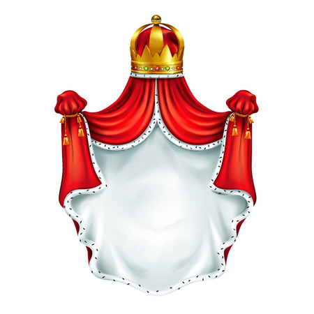 Medieval coat of arms, heraldic emblem realistic vector template isolated on white background. Kings gold crown with gems, coronation cloak, royal canopy of red silk decorated ermine fur illustration