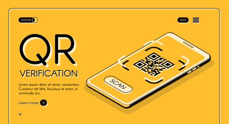 QR code verification service web banner isometric vector design template with machine-readable barcode on smartphone screen line art illustration. Mobile application for internet business landing page