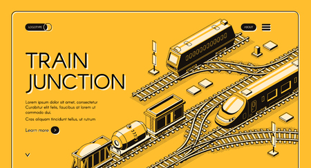 Kolejowa firma transportowa izometryczny wektorowy baner internetowy lub szablon strony docelowej z towarowymi lokomotywami Diesla i elektrycznymi lokomotywami pasażerskimi, wagonami towarowymi i cysterną na ilustracji linii skrzyżowania pociągu Ilustracje wektorowe