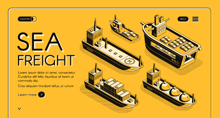 Sea freight transport isometric vector web banner with oil tanker, LNG carrier, RORO cargo and container ships line art illustration. Industrial maritime transport company landing page template Vektoros illusztráció