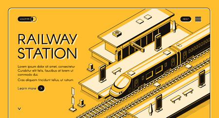 Banner de web de vector isométrico de estación de tren con tren expreso de alta velocidad que se detiene para recoger pasajeros ilustración de arte de línea. Infraestructura de transporte urbano moderno. Página de inicio de la empresa de viajes