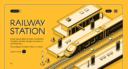Railway station isometric vector web banner with high-speed express train stopping to picking up passengers line art illustration. Modern city transport infrastructure. Travel company landing page