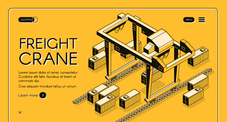 Freight crane isometric vector web banner with gantry crane moving on rails among freight containers line art illustration. International delivery, cargo transportation service landing page template