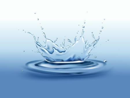 Corona de salpicaduras de movimiento congelado con gotas y olas en la ilustración de vector realista de la superficie de aguas tranquilas. Bebida pura fuente de agua dulce, medio ambiente limpio y concepto de ecología Presentación del producto natural