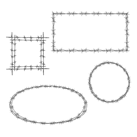 Wreathed with barbed wire rectangle, square and round frames realistic vector set isolated on whiter background. Concentration camps prisoners memorial, struggle for freedom concept design element