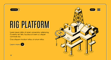 Oil extraction on sea and continental shelf isometric vector web banner with offshore drilling rig platform line art illustration. Petroleum and gas production industry company landing page template