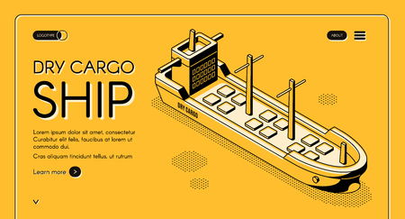 Dry cargo ship isometric vector web banner with bulk carrier line art illustration. Freight maritime transport, merchant vessel for goods delivery. International trade company landing page template