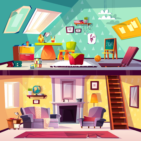Vector cross section background, cartoon interior of child playroom on attic, living room with fireplace. Kids area with toys, blackboard on garret, stairs to playground, furniture in hall. Illustration