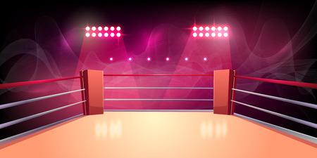 Vektorhintergrund des Boxrings, beleuchteter Sportbereich für den Kampf, gefährlicher Sport. Leere Arena mit Scheinwerfern, leuchtenden Lichtern, Seilen. Platz für Ringen, Präsentation des Kampfes, Wettkampf.