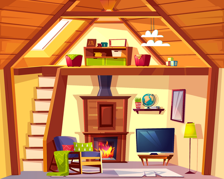Vector cozy duplex background. Cartoon interior of playroom - child place and living room, lounge with fireplace. Cross section of house, crest. TV set, rocking chair and other furniture in hall. 向量圖像