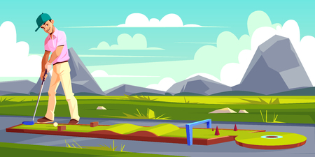 Vector background with man playing golf on green grass. Athlete in pink t-shirt, white trousers trains on a field. Outdoor sport, hobby or recreational activity. Sky and mountains on backgrounds.