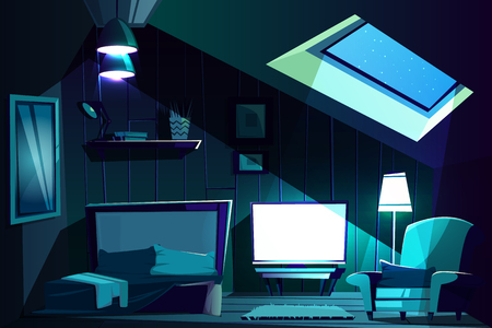 Vector illustration of attic room at night. Cartoon garret with window, armchair with cushion and furniture. Cozy attic with switched-on TV set in moonlight. Bedroom, living room background. Banco de Imagens - 114934738