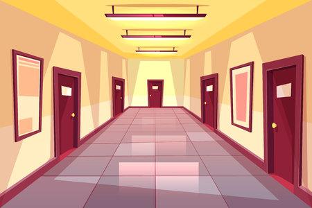 Couloir de dessin animé vectoriel, couloir avec de nombreuses portes - collège, université ou immeuble de bureaux. L'endroit lumineux avec éclairage de lampes électriques. Concept d'intérieur, fond d'architecture.