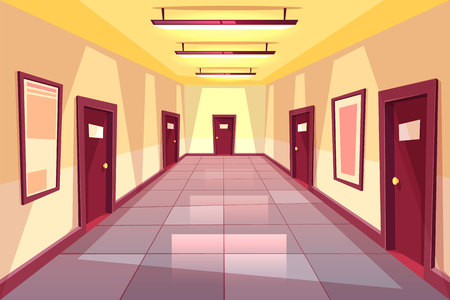 Vector cartoon hallway, corridor with many doors - college, university or office building. The bright place with illumination from electric lamps. Interior concept, architecture background.