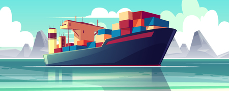 Vector illustration with a dry-cargo ship at sea, ocean. Commerce shipping, delivery of goods. Cartoon bulk-carrier on mountain background. Nautical boat, a marine vessel with metal containers. Illustration