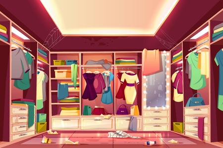 Las mujeres desordenadas caminan en el armario, el vector de dibujos animados del interior del vestidor con ropa dispersa, paredes y muebles manchados, espejo sucio, piso lleno de basura, telaraña en el techo. Concepto de ama de casa descuidada