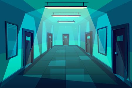 Oficina, hotel o condominio pasillo vacío o pasillo en la noche fondo de vector de dibujos animados con placas firmadas en puertas idénticas, baldosas en el piso y lámparas con luz fría en la ilustración del techo
