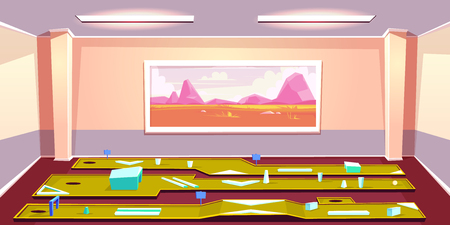 Mini golf indoor club cartoon vector. Various putting lines with obstacles and hole in spacious room illustration. Active sport games, entertainment with golf play practicing at home or office concept