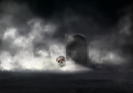 Orrore sul vecchio cimitero al vettore realistico di notte nebbiosa. Testa di zombie, cranio del defunto con occhi rossi luminosi che escono dall'illustrazione della tomba. Risorto con la magia nera morto. Sfondo di Halloween
