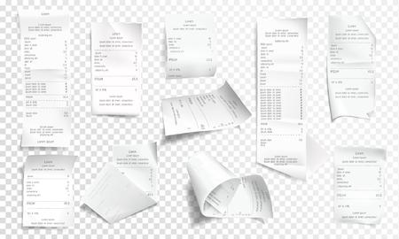 Colección de recibo realista de vector, papel blanco con pago aislado sobre fondo transparente. Impresión financiera arrugada para tienda, tienda. Factura minorista, cheque comercial arrugado o factura. Ilustración de vector