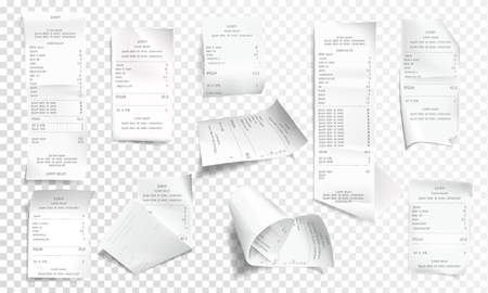 Vector realistic receipt collection, white paper with payment isolated on transparent background. Creased financial printout for shop, store. Retail bill, rumpled commercial check or invoice.