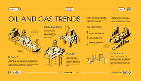 Oil and gas industry trends isometric vector web banner. Offshore drilling technologies concept with drillship, oil platform, LNG ship line art illustration. Petroleum market, forex trade infographics