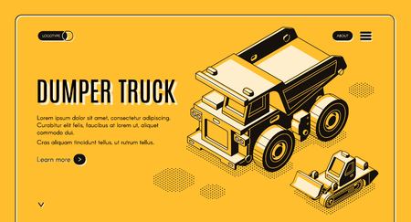Heavy industry and mining company transport and machinery isometric vector web banner with haul dumper truck and bulldozer line art illustration. Career earthworks equipment landing page template Illustration