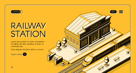 Railroad transport isometric vector web banner with modern high-speed express train stopping on old railway station to pick up passengers line art illustration. Public transport company landing page